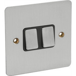 Axiom Flat Plate Satin Chrome 10A Switch 2 Gang 2 Way - 26288 - from Toolstation