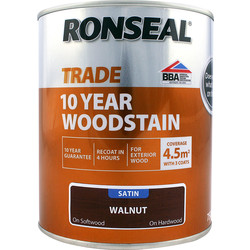 Ronseal Ronseal 10 Year Exterior Satin Woodstain 750ml Walnut - 26404 - from Toolstation
