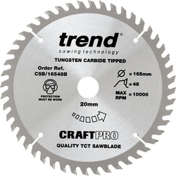 Craft Trend Craft Circular Saw Blade 165 x 48T x 20mm CSB/16548B - 26548 - from Toolstation