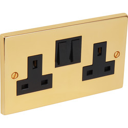 Axiom Victorian Switched Socket 2 Gang - 26621 - from Toolstation