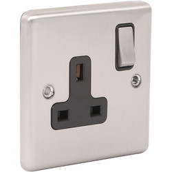 Wessex Wiring Wessex Brushed Stainless Steel 13A DP Switched Socket 1 Gang - 26639 - from Toolstation
