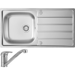 Stainless Steel Large Kitchen Sink & Drainer With Single Lever Mixer Tap Pack Single Bowl 965mm x 500mm x 170mm - 26660 - from Toolstation