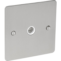 Axiom Flat Plate Satin Chrome 20A Flex Outlet Plate  - 26894 - from Toolstation