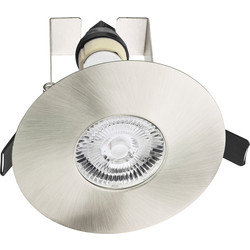 Integral LED Integral LED 70-100mm Cut Out Evofire IP65 Fire Rated Downlight Satin Nickel with Insulation Guard - 27124 - from Toolstation