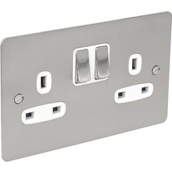 Flat Plate Satin Chrome 13A Socket 2 Gang Switched DP - 27274 - from Toolstation