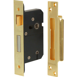 Unbranded BS 5 Lever Mortice Sashlock 64mm Brass - 27294 - from Toolstation