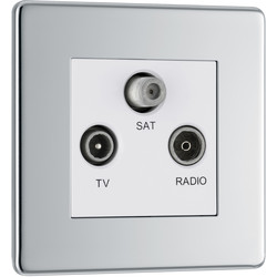 BG BG Screwless Flat Plate Polished Chrome Coaxial Sockets TV, FM, SAT Socket - 27433 - from Toolstation