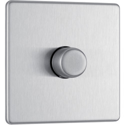 BG BG Screwless Flat Plate Brushed Stainless Steel Dimmer Switch 1 Gang 2 Way - 27927 - from Toolstation