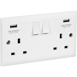 Axiom Axiom 13A White Low Profile  USB Switched Socket 2 Gang + 2 USB - 27963 - from Toolstation