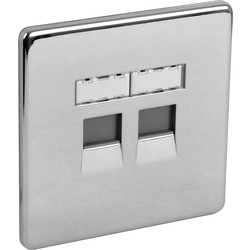BG BG Screwless Flat Plate Polished Chrome RJ45 Outlet 2 Gang - 28000 - from Toolstation