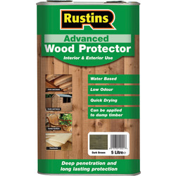 Rustins Rustins Advanced Wood Protector 5L Dark Brown - 28310 - from Toolstation