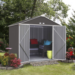 Rowlinson Rowlinson Metal Ezee Shed Grey 8' x 7' - 28338 - from Toolstation
