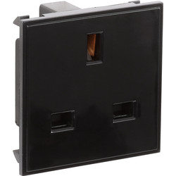 Euro Module Socket Outlet 13A Black - 28455 - from Toolstation