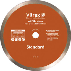 Vitrex Vitrex Tile & Ceramic Cutting Diamond Blade 200mm Gen Purpose - 28490 - from Toolstation