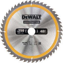 DeWalt DeWalt Construction Circular Saw Blade 250 x 30mm x 48T - 28556 - from Toolstation