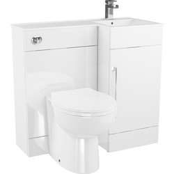 Cassellie Single Door L-Shaped Bathroom Unit Gloss White Right Hand - 28562 - from Toolstation