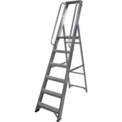 Lyte Ladders Lyte Industrial Platform Aluminium Step Ladder With Safety Handrail, 6 Tread, Closed Length 2.07m - 28707 - from Toolstation