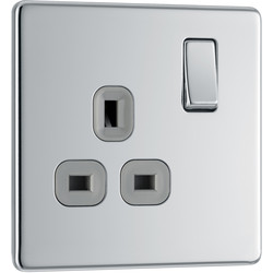 BG BG Screwless Flat Plate Polished Chrome 13A DP Switch Socket 1 Gang - 28862 - from Toolstation