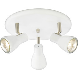 Philips Curtis Spotlight White 3 Plate - 29104 - from Toolstation