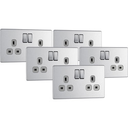BG BG Screwless Flat Plate Brushed Stainless Steel 13A DP Switch Socket 2 Gang Trade Pack - 29108 - from Toolstation