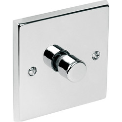 Chrome Dimmer Switch 1 Gang 1 Way 400W - 29279 - from Toolstation