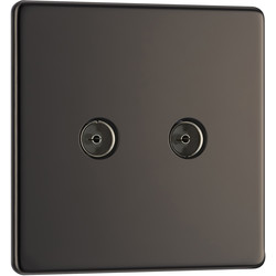 BG BG Screwless Flat Plate Black Nickel TV / Coaxial Sockets 2 Gang Coaxial - 29390 - from Toolstation