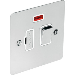 Flat Plate Polished Chrome Fused Spur 13A Switched + Neon - 29405 - from Toolstation