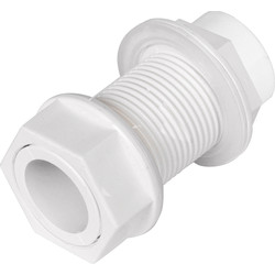 Solvent Weld Overflow Tank Connector 21.5mm Straight White