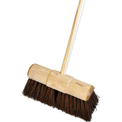"Hill Brush Company Industrial Stiff Yard Broom With Handle 13"" (330mm) Natural - 29500 - from Toolstation"