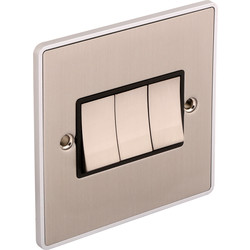 Urban Edge Urban Edge Brushed Chrome Switch 3 Gang 2 Way - 29534 - from Toolstation