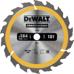 Dewalt DeWalt Construction Circular Saw Blade 184 x 16mm x 18T - 29637 - from Toolstation
