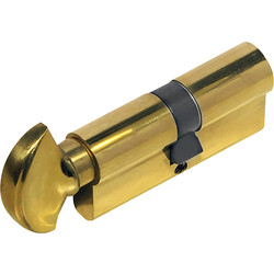 Unbranded 6 Pin Turn Euro Cylinder 40-45mm Brass - 29687 - from Toolstation