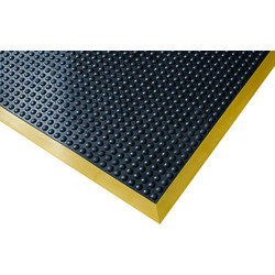 bluediamond Ergotred Rubber Anti-Fatigue Mat 1.2m x 0.9m - Black/Yellow - 29762 - from Toolstation