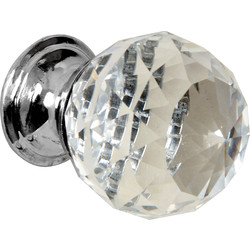 Glass Faceted Knob Chrome Base