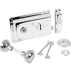 Rim Lock with Handles Chrome