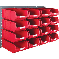 Barton Barton Steel Louvre Panel with Red Bins 641 x 457mm with TC4 Red Bins - 30166 - from Toolstation