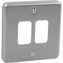 MK MK Grid Plus Metal Front Plate 2 Gang - 30188 - from Toolstation
