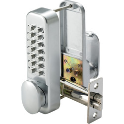 Push-Button Lock with Holdback Satin Chrome