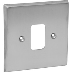 Grid Front Plate Satin Chrome 1 Gang - 30809 - from Toolstation