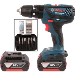 Bosch Bosch GSB 18-2-LI 18V Li-Ion Cordless Combi Drill & 34 Piece Accessory Kit 2 x 3.0Ah - 31102 - from Toolstation