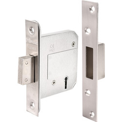 BS 5 Lever Mortice Deadlock 76mm Satin Chrome