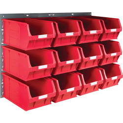 Barton Barton Steel Louvre Panel with Red Bins 641 x 457mm with TC5 Red Bins - 31256 - from Toolstation