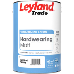 Leyland Trade Leyland Trade Hardwearing Matt Paint 5L Brilliant White - 31297 - from Toolstation