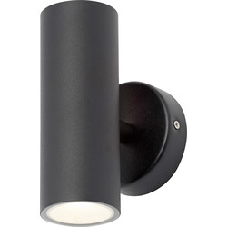 Leto Integrated LED Stainless Steel Up & Down Light IP44 Black 2 x 4W 560lm - 31307 - from Toolstation