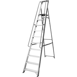 Lyte Industrial Platform Aluminium Step Ladder With Safety Handrail, 10 Tread, Closed Length 3.01m