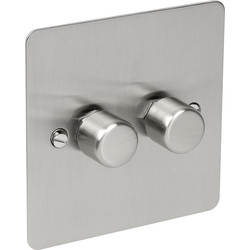 Axiom Flat Plate Satin Chrome Dimmer Switch 250W 2 Gang 2 Way - 31480 - from Toolstation