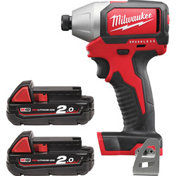 Milwaukee Milwaukee M18BLID-202C 18V Li-Ion Cordless Brushless Compact Impact Driver 2 x 2.0Ah - 31520 - from Toolstation