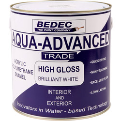 Bedec Bedec Aqua Advanced High Gloss Brilliant White 2.5L - 31588 - from Toolstation