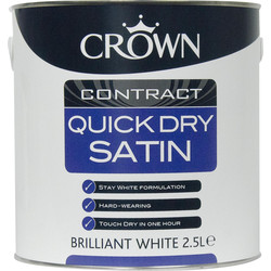 Crown Contract Crown Contract Quick Dry Satin Paint Brilliant White 2.5L - 31590 - from Toolstation