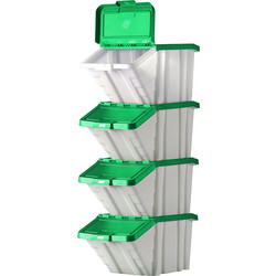 Barton Robust Storage Bin 50L with Lid 345 x 400 x 635mm - Green Lid - 31850 - from Toolstation